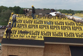 Aspens syntheic underlayment on a new construction building.