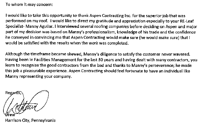 Read aspen39s nationwide testimonials aspen contracting for Sample letter of recognition for teamwork